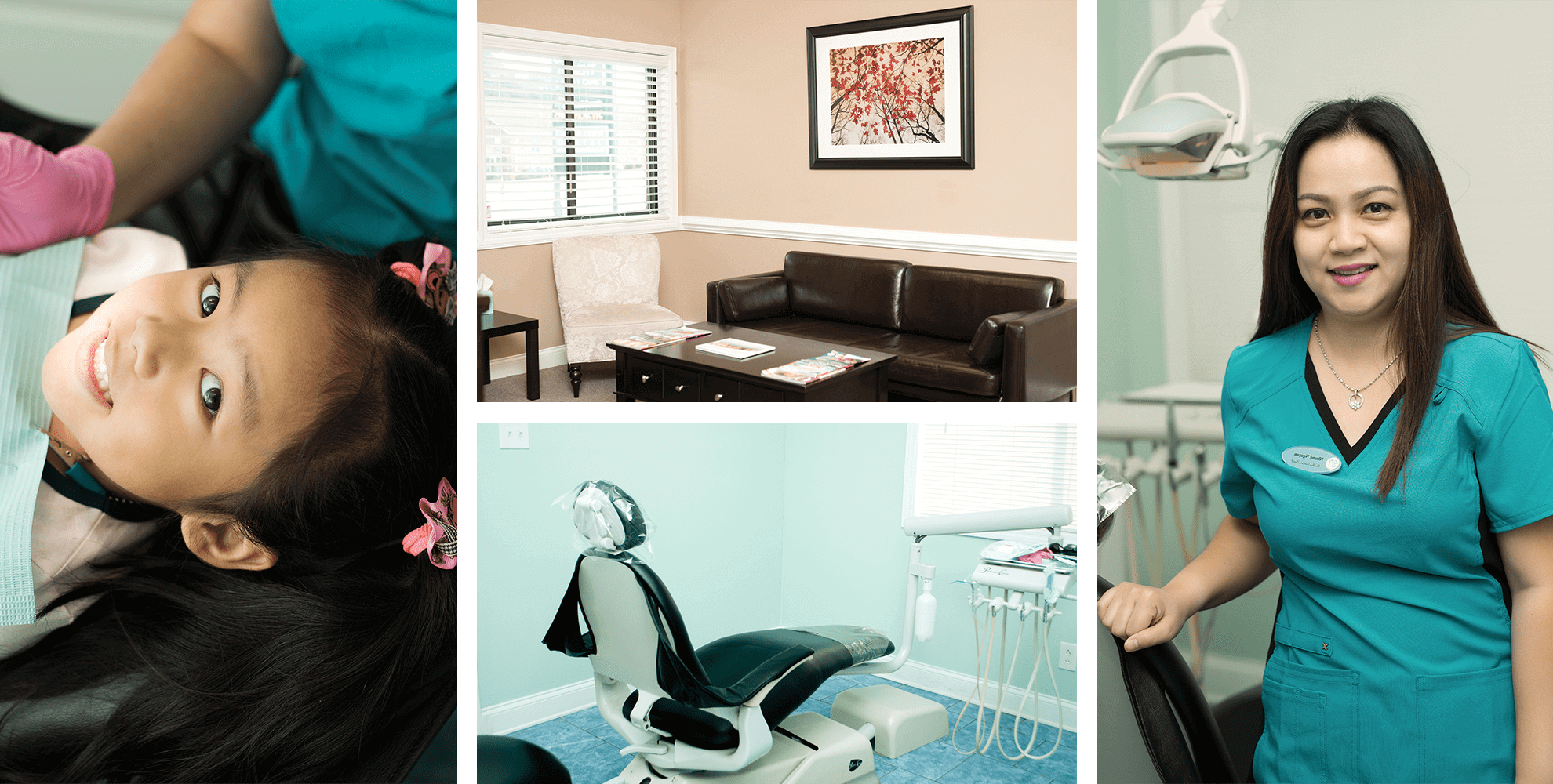 A photo collage of Carolina Comfort Dental office, staff and patients.